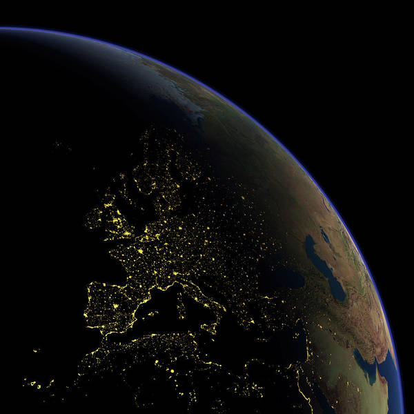 Wall Art - Photograph - Europe At Night by Planetary Visions Ltd/science Photo Library