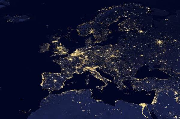 Suomi Photograph - Europe At Night, Satellite Image by Science Photo Library