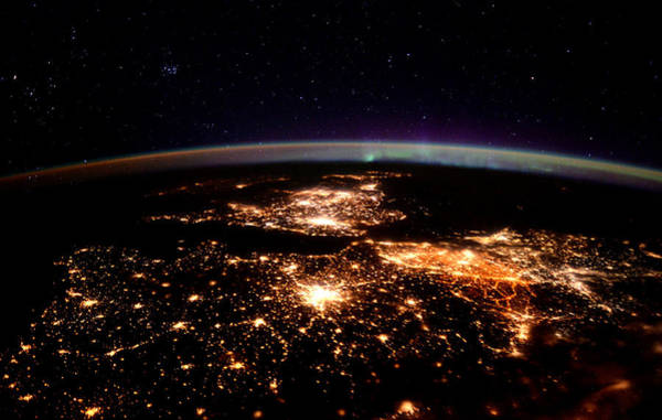 Satellite Photograph - Europe At Night, Satellite View by Science Source
