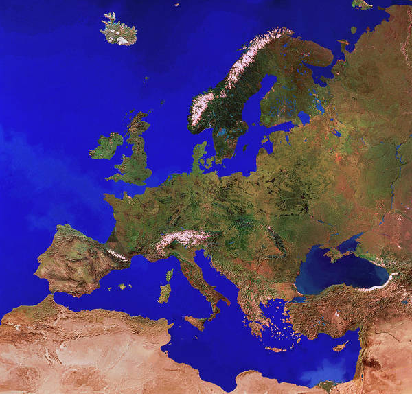 Wall Art - Photograph - Europe From Space by Copyright 1995, Worldsat International And J. Knighton/science Photo Library