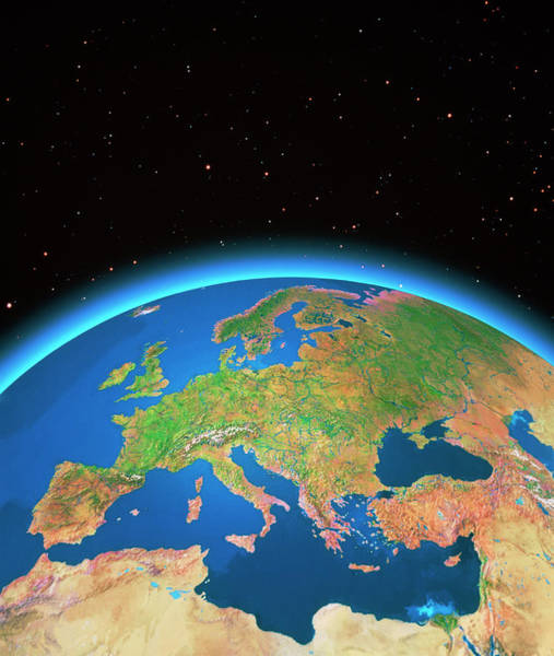 Wall Art - Photograph - Europe From Space by Copyright Tom Van Sant/geosphere Project, Santa Monica/science Photo Library