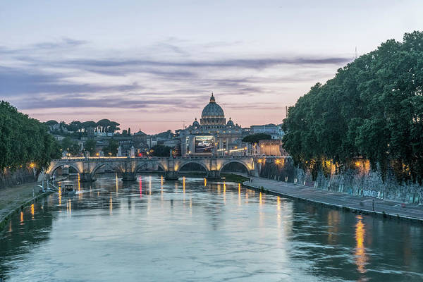 St Peters Basilica Photograph - Europe, Italy, Rome, Tiber River Sunset by Rob Tilley
