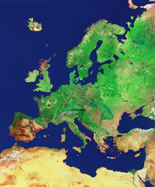 Wall Art - Photograph - Europe by Worldsat Productions/nrsc/science Photo Library