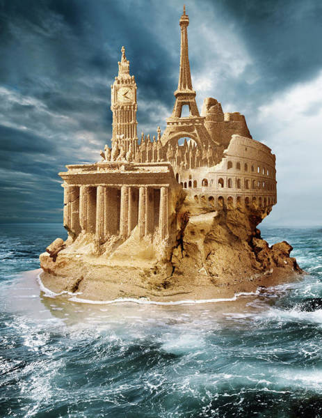Financial Crisis Photograph - European Sandcastle by Smetek/science Photo Library