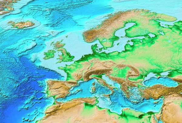 Wall Art - Photograph - European Topography by Noaa/science Photo Library