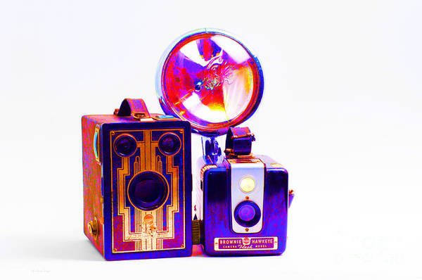 Digital Art - European Travelers Mother And Daughter Cameras Abstract by Andee Design