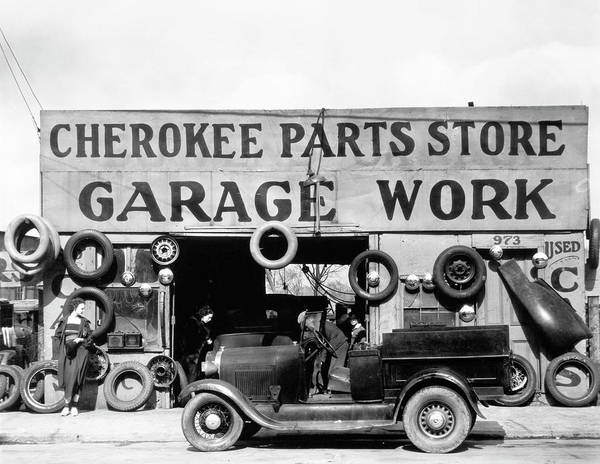 Photograph - Evans Garage, 1936 by Granger