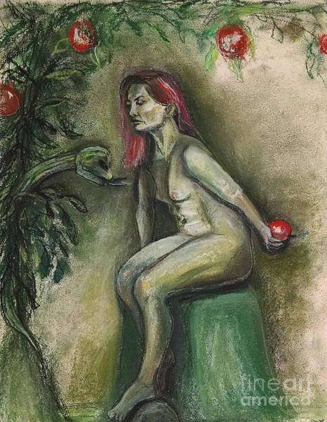 Art Print featuring the drawing Eve In The Garden  by Gabrielle Wilson-Sealy
