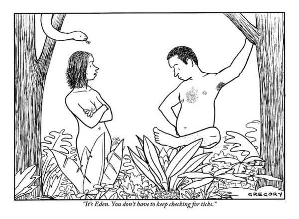 Garden Drawing - Eve Is Seen Speaking With Adam Who Is Examining by Alex Gregory