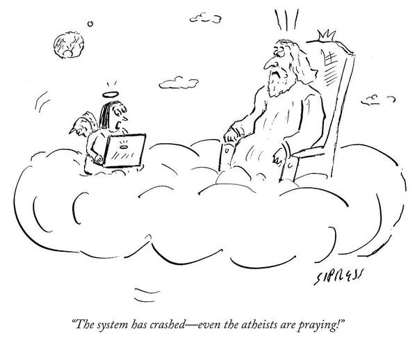 Wall Art - Drawing - Even The Atheists Are Praying by David Sipress