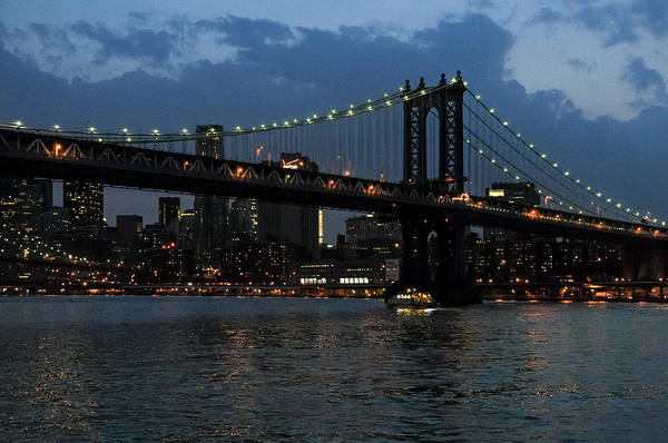 Photograph - Evening - Manhattan Bridge by Frank Mari