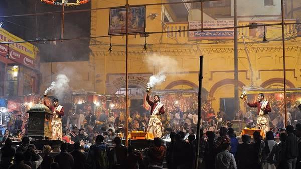 Photograph - Evening Arti 2 - Varanasi India by Kim Bemis