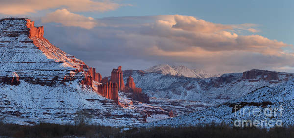 Fisher Towers Photograph - Evening At Fisher Towers - Panorama by Adam Jewell