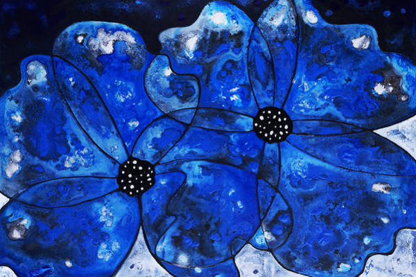 Happy Wedding Wall Art -  - Evening Bloom Blue Flowers By Sharon Cummings by Sharon Cummings