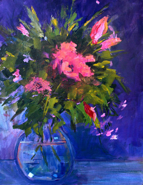 Delicate Painting - Evening Blooms by Nancy Merkle
