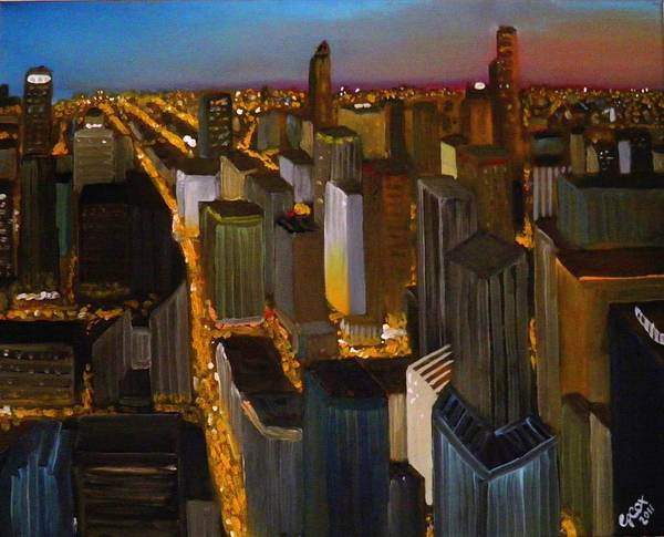 Chris Cox Painting - Evening Cityscape by Chris Cox