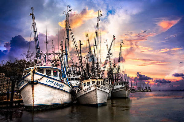 Shrimp Boat Wall Art - Photograph - Evening Colors by Debra and Dave Vanderlaan