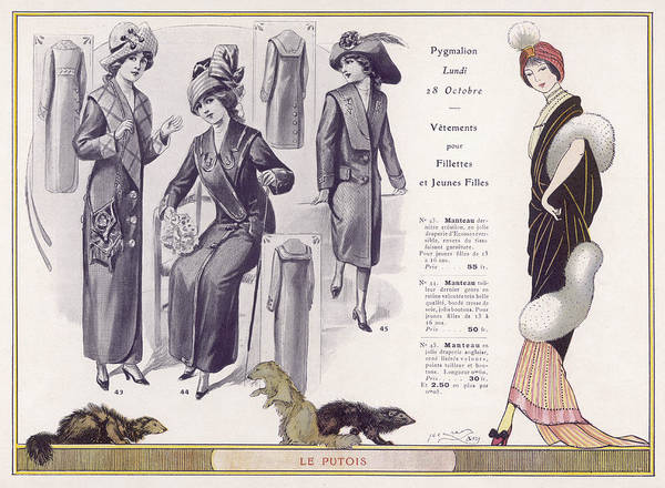 Fur Coat Drawing - Evening Dress With Polecat Fur  Mantle by Mary Evans Picture Library