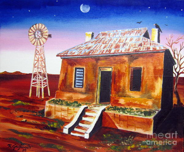 Desolation Painting - Evening Falling In The Australian Outback by Roberto Gagliardi