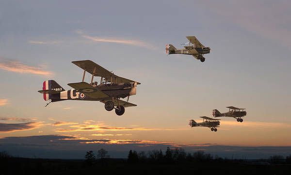 World War 1 Digital Art - Evening Flight by Pat Speirs