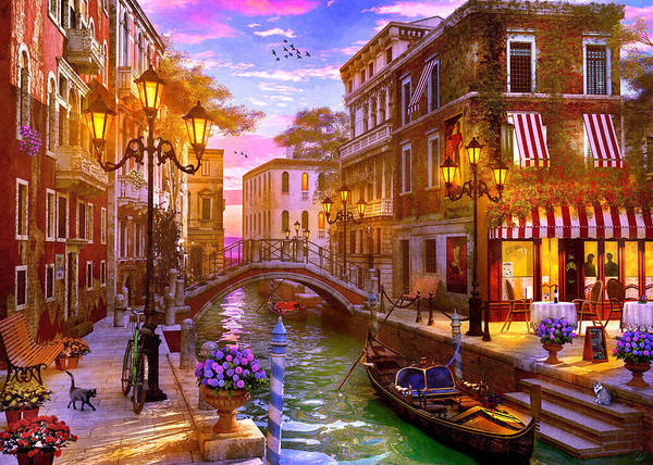 Wall Art - Painting - Evening Gondola Ride by MGL Meiklejohn Graphics Licensing