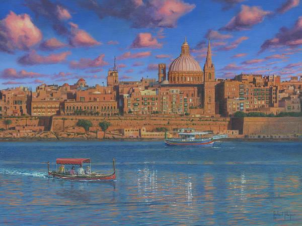Taxi Painting - Evening In Valletta Harbour Malta by Richard Harpum