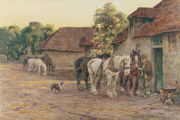 Ploughing Painting - Evening by Joseph Harold Swanwick