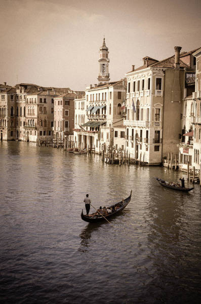Balcony Photograph - Evening Light And Gondolas On The Grand by Russ Bishop