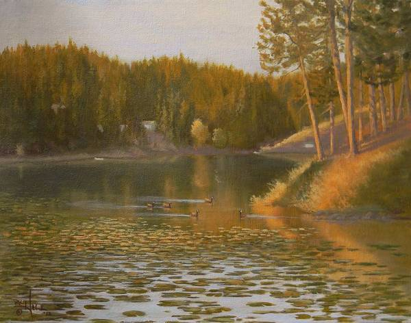 Lilly Pad Painting - Evening Light On Avondale by Paul K Hill