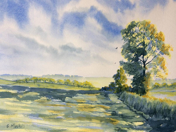 Painting - Evening Light On The Woldsway by Glenn Marshall
