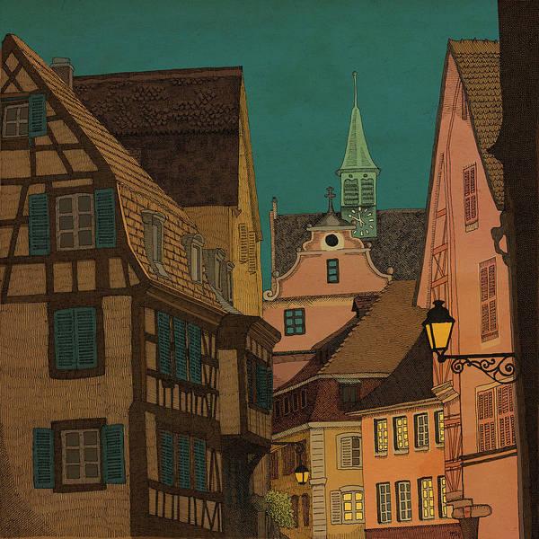 Alsace Wall Art - Drawing - Evening by Meg Shearer