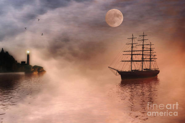 Tall Ships Wall Art - Painting - Evening Mists by John Edwards