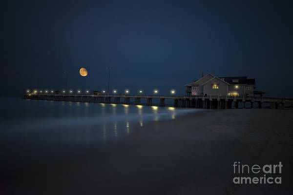 Photograph - Evening Moon Over Jennettes Pier Nags Head by Dan Friend