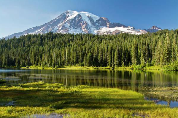 Alpenglow Photograph - Evening, Mount Rainier, Reflection by Michel Hersen