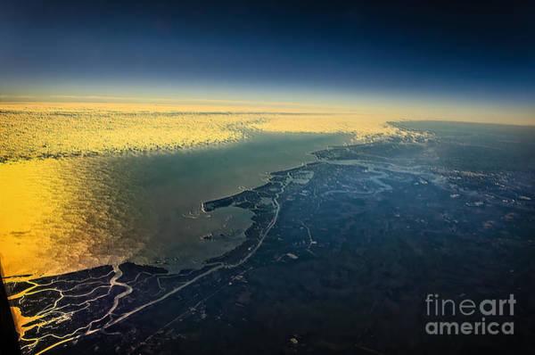 Evening Wall Art - Photograph - Evening Ocean Shore From The Airplane Window by Viktor Birkus