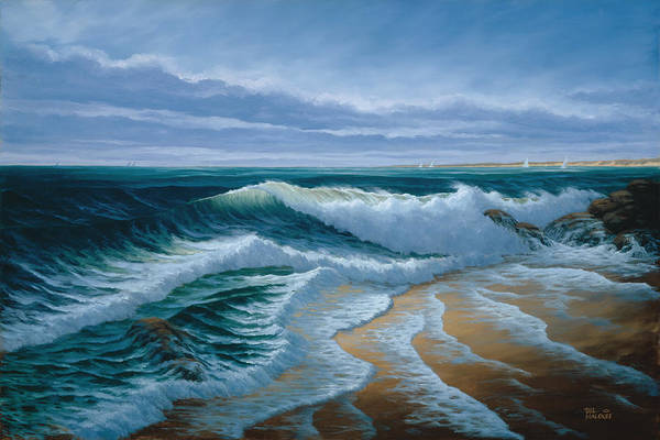 Ocean Scape Painting - Evening On Monterey Bay by Del Malonee