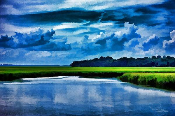 Digital Art - Evening On The Marsh by Ludwig Keck