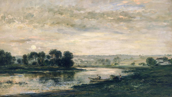 Charles River Wall Art - Painting - Evening On The Oise by Charles Francois Daubigny