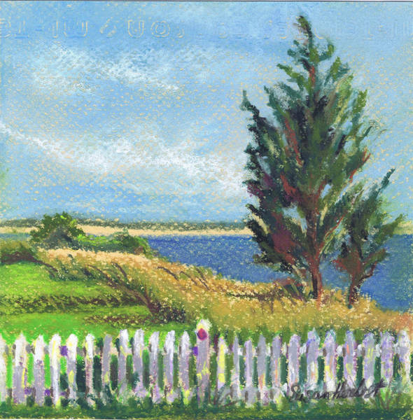 White Picket Fence Painting - Evening Orient And Peconic Bay by Susan Herbst