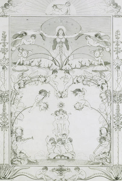 Etching Wall Art - Drawing - Evening by Philipp Otto Runge