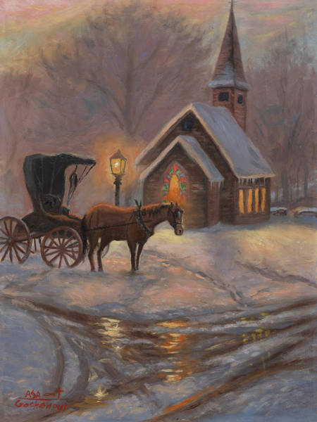 Red Wagon Painting - Evening Prayer by Asa Gochenour