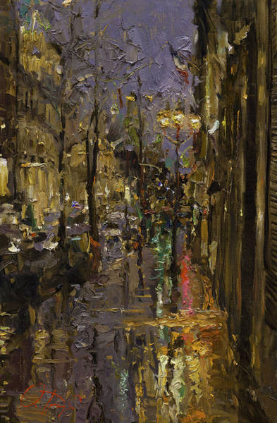Russian Impressionism Wall Art - Painting - Evening Rain In Paris by Oleg Trofimoff