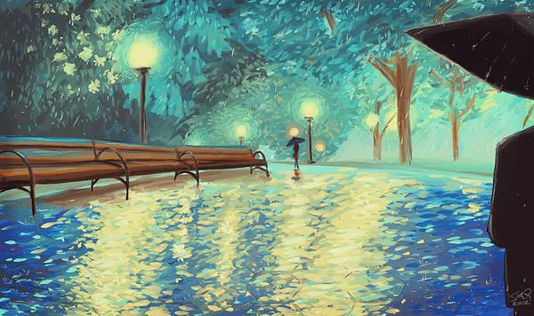 Evening Rain Art Print by Samantha Ramsay Behrman