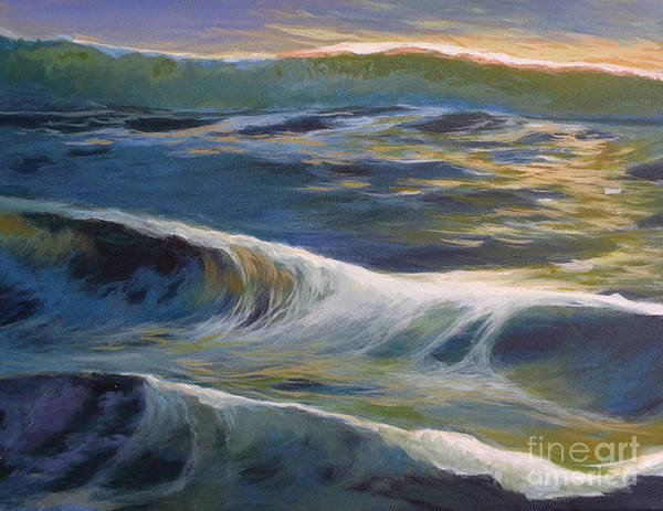 Oceanscape Painting - Evening Reflection by Melody Cleary