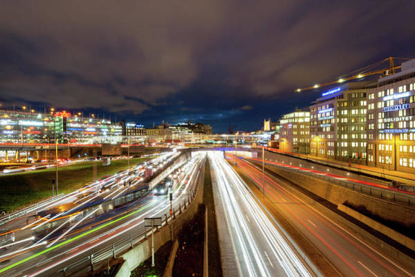 Rush Hour Photograph - Evening Rush Hour Traffic by Daugirdas Tomas Racys