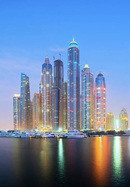 Luxury Yacht Photograph - Evening Skyline Of Modern Skyscrapers by Iain Masterton