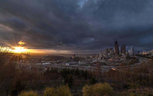 Seattle Skyline Photograph - Evening Sunlit Seattle Skyline by Mike Reid