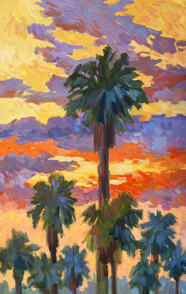 Canaries Painting - Evening Sunset And Palms by Diane McClary