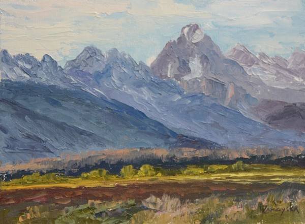 Wall Art - Painting - Evening Under Grand Teton by Inka Zamoyska