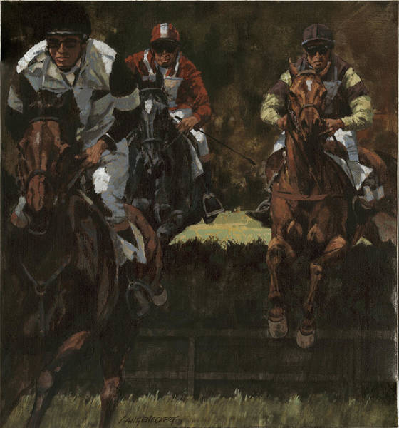 Wall Art - Painting - Eventing Horses Over Jump by Don  Langeneckert